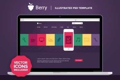 Berry - Illustrated PSD шаблон
