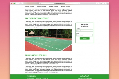 Tennis-Adobe-Muse HTML шаблон