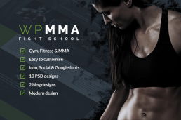 WP-MMA Gym Fitness PSD шаблон